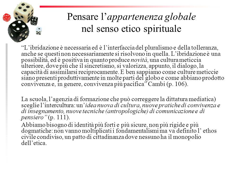 Pensare lappartenenza globale nel senso etico spirituale Libridazione è necessaria ed è linterfaccia del pluralismo e della tolleranza, anche se quest