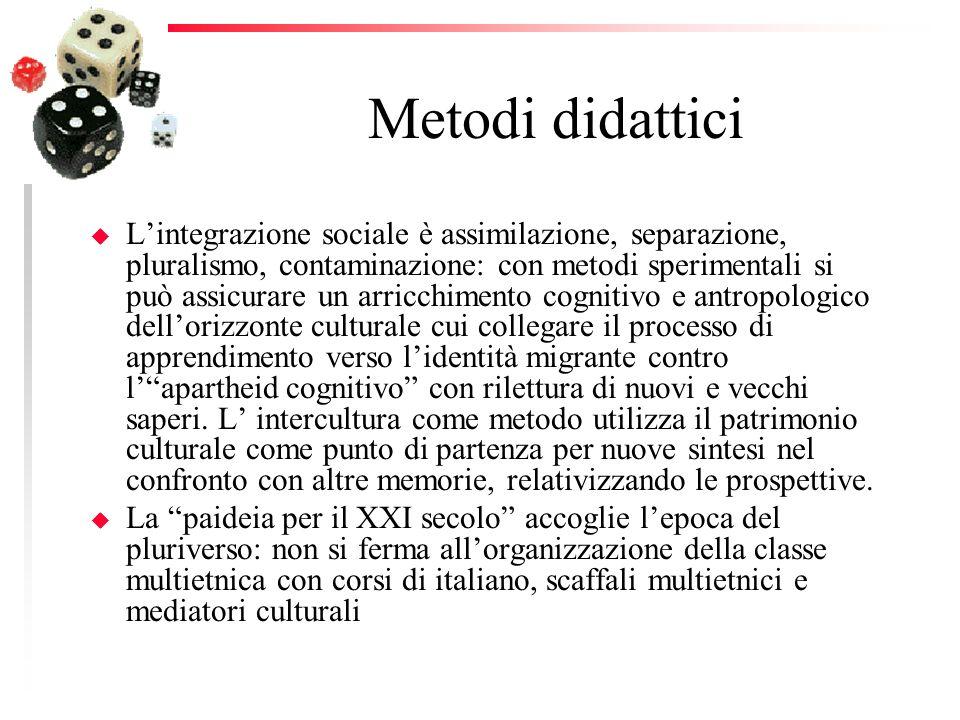 Metodi didattici u Lintegrazione sociale è assimilazione, separazione, pluralismo, contaminazione: con metodi sperimentali si può assicurare un arricc