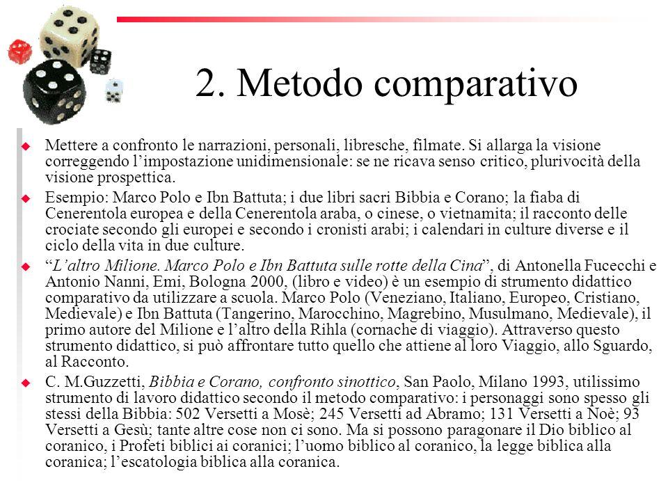 2. Metodo comparativo u Mettere a confronto le narrazioni, personali, libresche, filmate. Si allarga la visione correggendo limpostazione unidimension