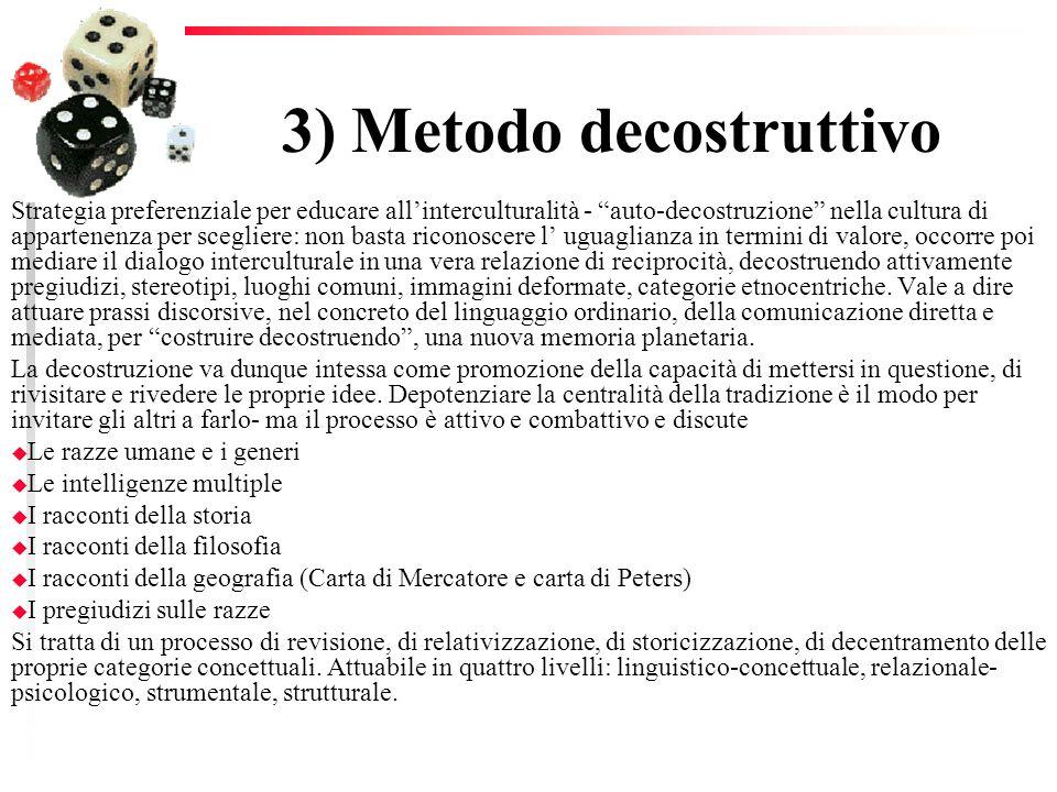 3) Metodo decostruttivo Strategia preferenziale per educare allinterculturalità - auto-decostruzione nella cultura di appartenenza per scegliere: non