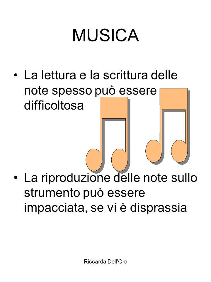 Riccarda Dell'Oro MUSICA La lettura e la scrittura delle note spesso può essere difficoltosa La riproduzione delle note sullo strumento può essere imp