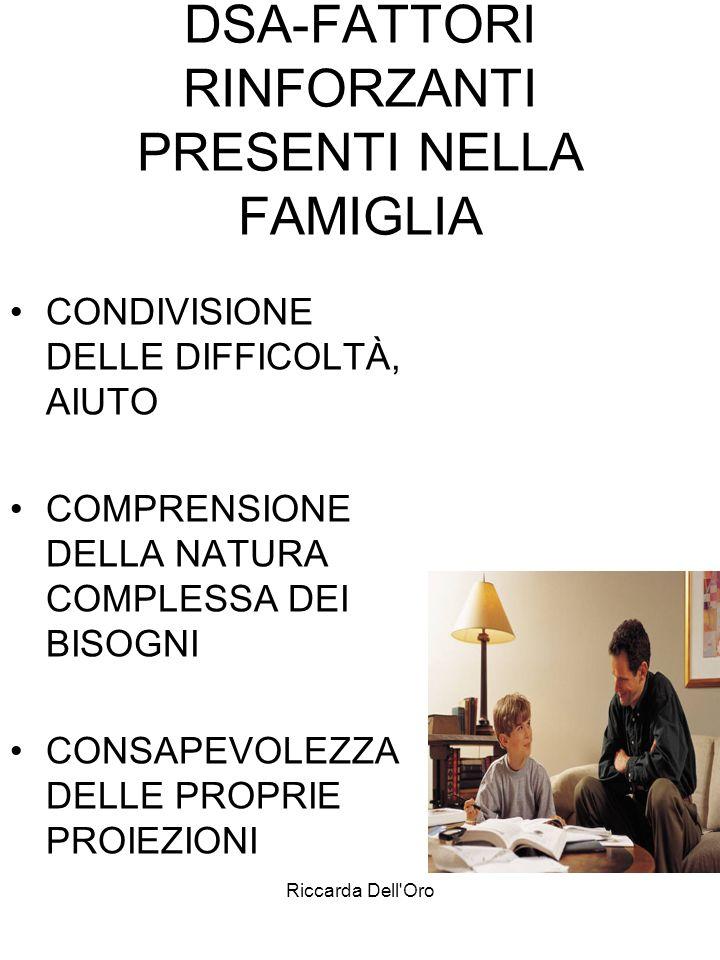 Riccarda Dell'Oro DSA-FATTORI RINFORZANTI PRESENTI NELLA FAMIGLIA CONDIVISIONE DELLE DIFFICOLTÀ, AIUTO COMPRENSIONE DELLA NATURA COMPLESSA DEI BISOGNI