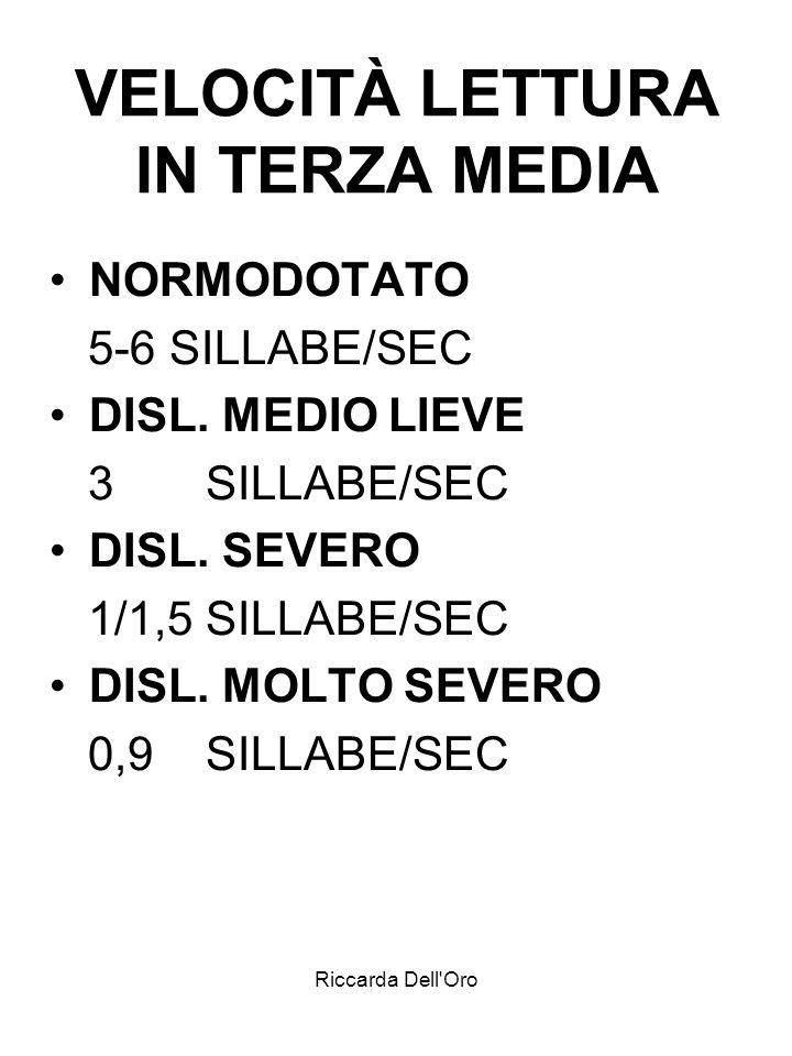 Riccarda Dell'Oro VELOCITÀ LETTURA IN TERZA MEDIA NORMODOTATO 5-6 SILLABE/SEC DISL. MEDIO LIEVE 3 SILLABE/SEC DISL. SEVERO 1/1,5 SILLABE/SEC DISL. MOL