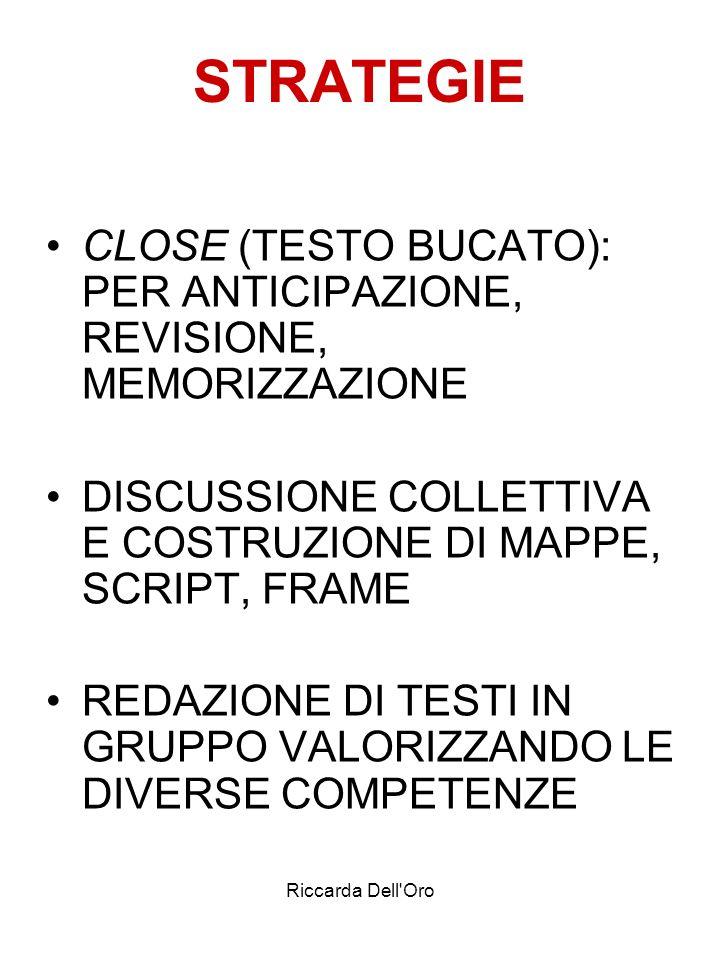 Riccarda Dell'Oro STRATEGIE CLOSE (TESTO BUCATO): PER ANTICIPAZIONE, REVISIONE, MEMORIZZAZIONE DISCUSSIONE COLLETTIVA E COSTRUZIONE DI MAPPE, SCRIPT,