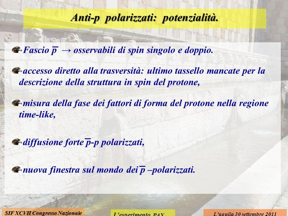 Lesperimento PAX Laquila 30 settembre 2011 SIF XCVII Congresso Nazionale Anti-p polarizzati: potenzialità.