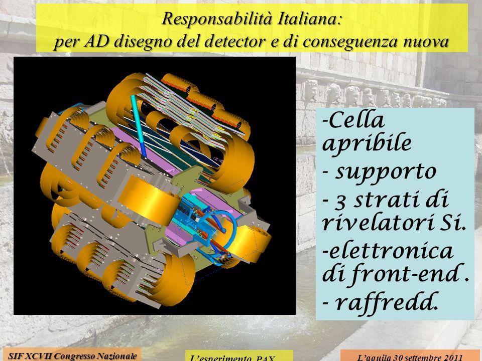 Lesperimento PAX Laquila 30 settembre 2011 SIF XCVII Congresso Nazionale Responsabilità Italiana: per AD disegno del detector e di conseguenza nuova c