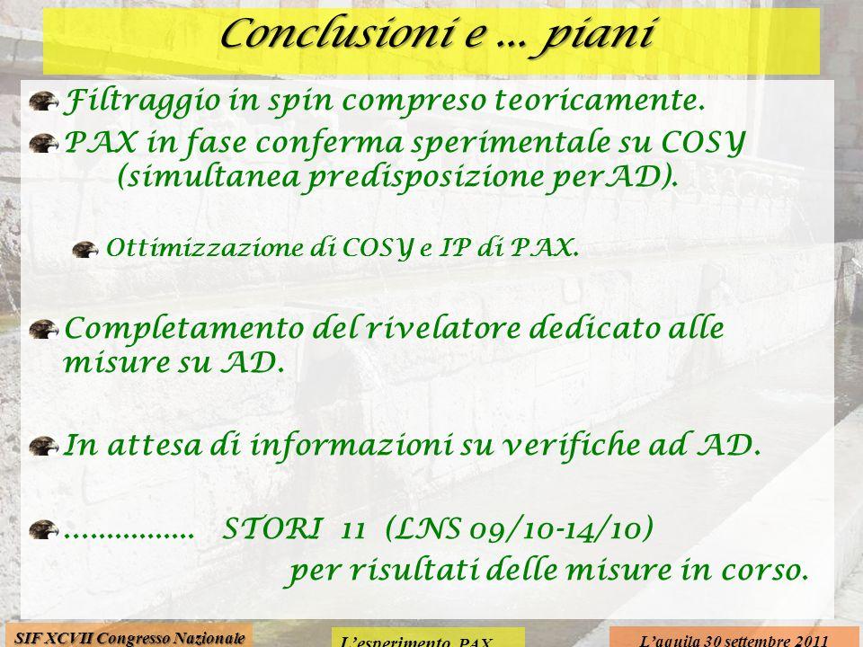 Lesperimento PAX Laquila 30 settembre 2011 SIF XCVII Congresso Nazionale Conclusioni e... piani Filtraggio in spin compreso teoricamente. PAX in fase
