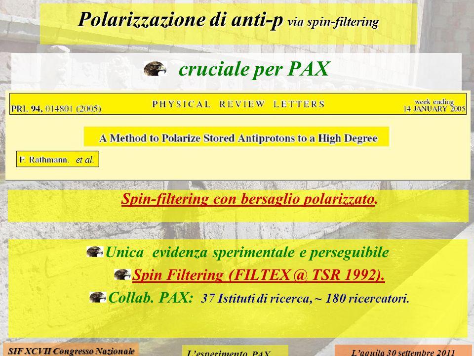 Lesperimento PAX Laquila 30 settembre 2011 SIF XCVII Congresso Nazionale Polarizzazione di anti-p via spin-filtering cruciale per PAX Spin-filtering con bersaglio polarizzato.