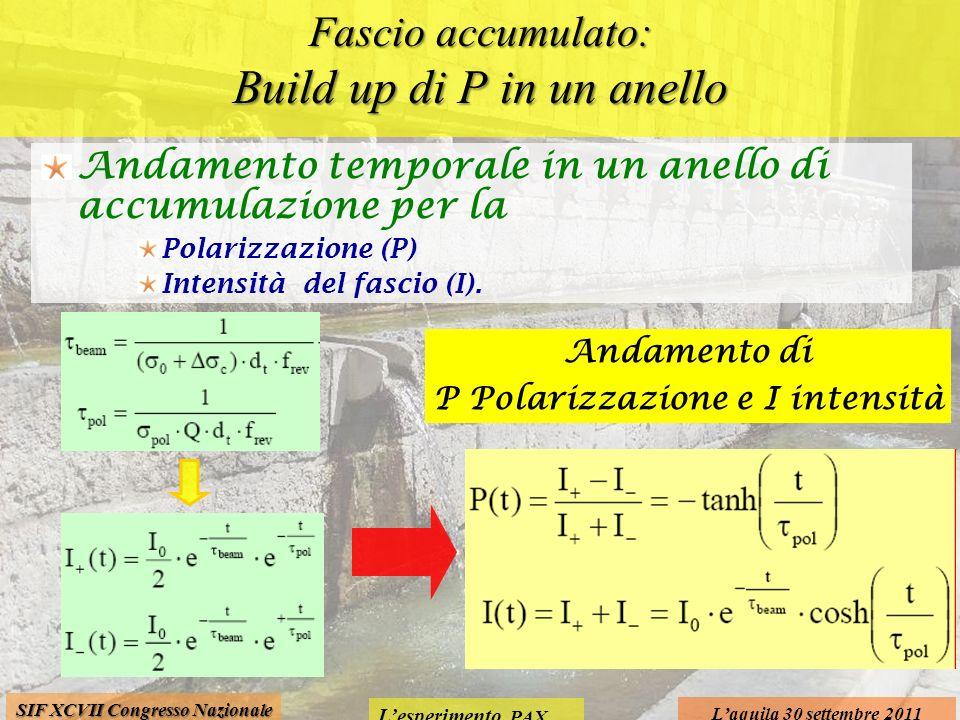 Lesperimento PAX Laquila 30 settembre 2011 SIF XCVII Congresso Nazionale Fascio accumulato: Build up di P in un anello Andamento temporale in un anello di accumulazione per la Polarizzazione (P) Intensità del fascio (I).