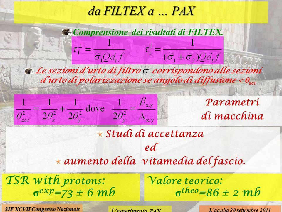 Lesperimento PAX Laquila 30 settembre 2011 SIF XCVII Congresso Nazionale da FILTEX a … PAX Comprensione dei risultati di FILTEX. Le sezioni durto di f