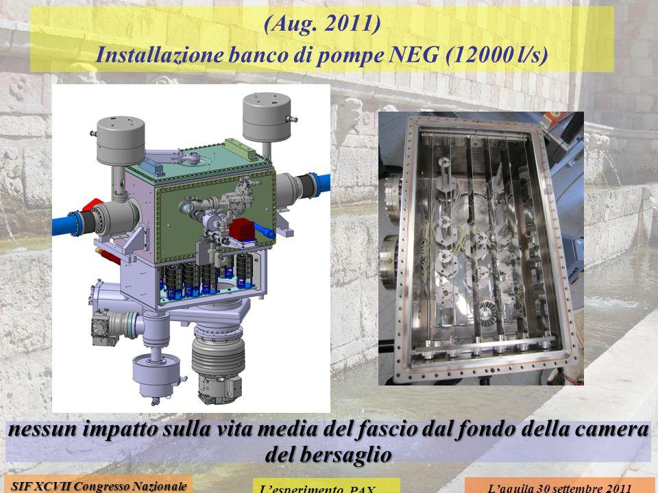 Lesperimento PAX Laquila 30 settembre 2011 SIF XCVII Congresso Nazionale (Aug. 2011) Installazione banco di pompe NEG (12000 l/s) nessun impatto sulla