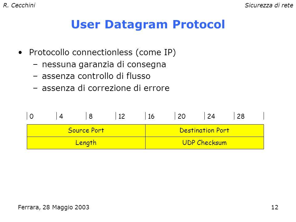 R. CecchiniSicurezza di rete Ferrara, 28 Maggio 200311 Protocolli di trasporto Concetti per protocolli al livello di trasporto: –Porta astrazione usat