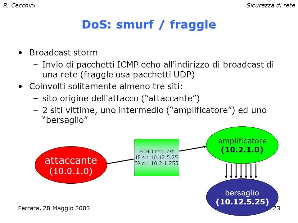 R. CecchiniSicurezza di rete Ferrara, 28 Maggio 200322 vittima DoS: ping of death Invio pacchetti ICMP ping di dimensione maggiore della dimensione ma