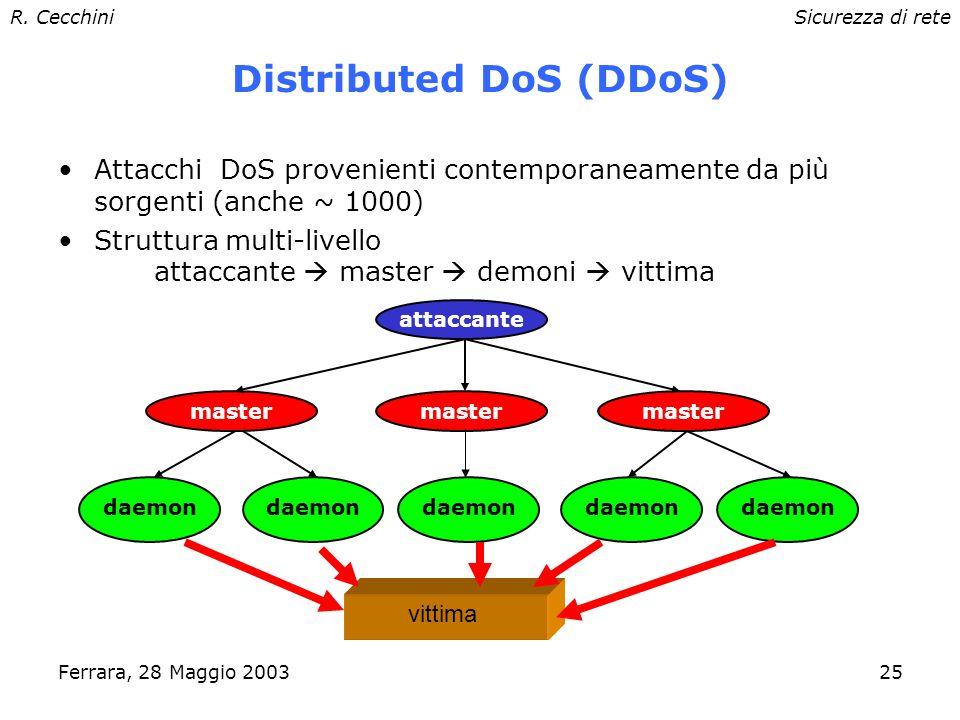 R. CecchiniSicurezza di rete Ferrara, 28 Maggio 200324 DoS: SYN Flood Richiesta grande numero di connessioni da host diversi (spoofing), tramite invio