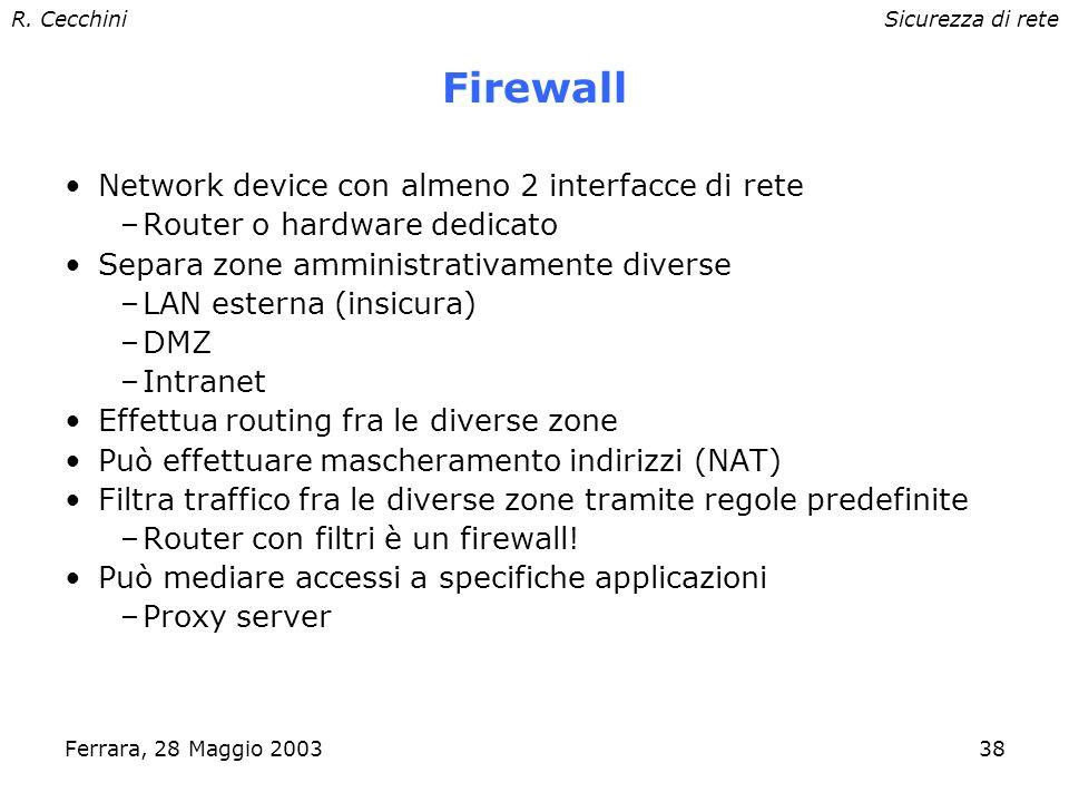 R. CecchiniSicurezza di rete Ferrara, 28 Maggio 200337 Network Intrusion Detection System Forniscono informazioni utili su traffico ostile. Facilitano