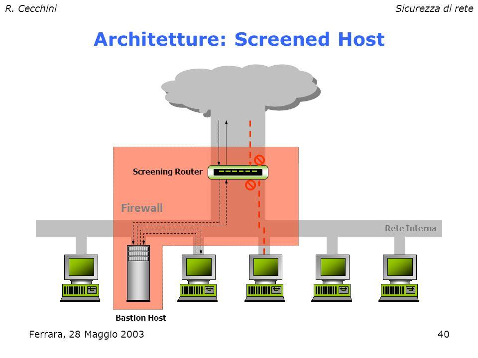 R. CecchiniSicurezza di rete Ferrara, 28 Maggio 200339 Architetture: Screening Router Rete interna Screening Router Firewall