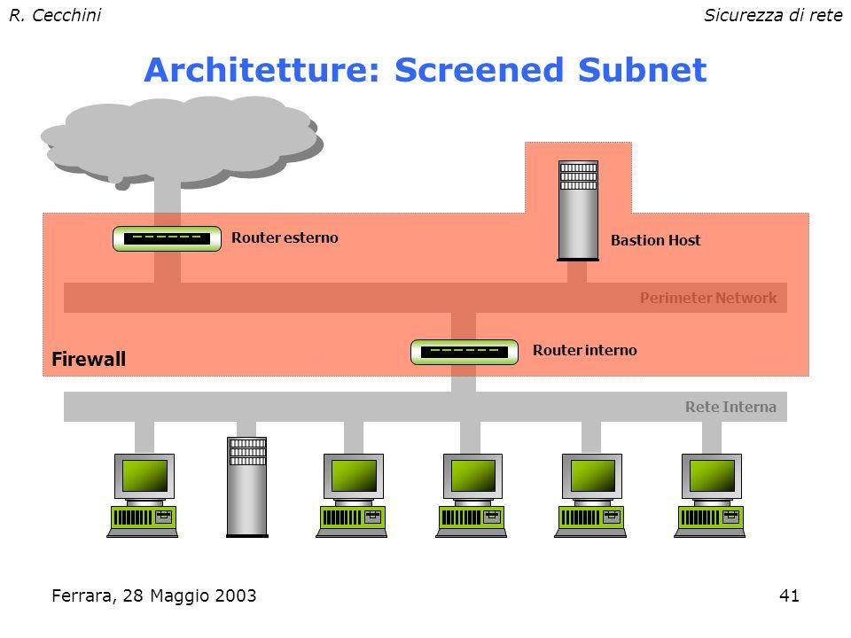 R. CecchiniSicurezza di rete Ferrara, 28 Maggio 200340 Architetture: Screened Host Bastion Host Rete Interna Screening Router Firewall