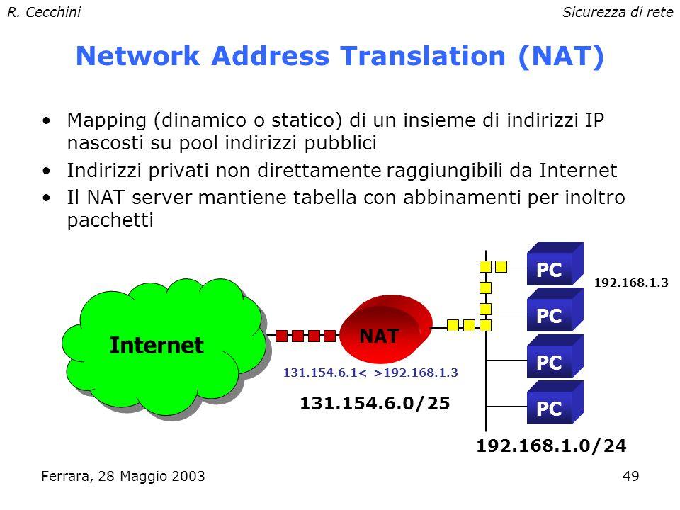 R. CecchiniSicurezza di rete Ferrara, 28 Maggio 200348 Proxy: client proxy-aware Ad es.: Netscape, Internet Explorer, Lynx –SOCKS e HTTP Le applicazio