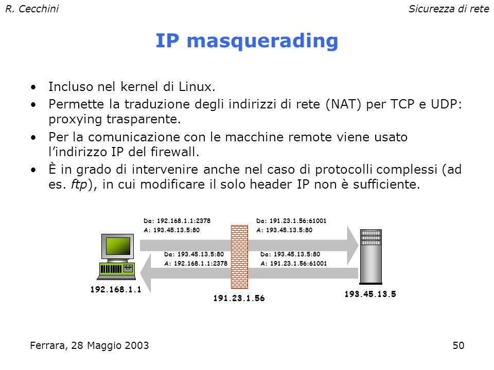 R. CecchiniSicurezza di rete Ferrara, 28 Maggio 200349 Network Address Translation (NAT) Mapping (dinamico o statico) di un insieme di indirizzi IP na