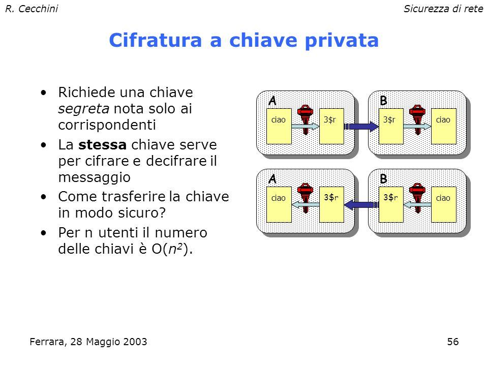 R. CecchiniSicurezza di rete Ferrara, 28 Maggio 200355 Riservatezza: cifratura Converte un testo in chiaro in uno inintelligibile. Richiede almeno una
