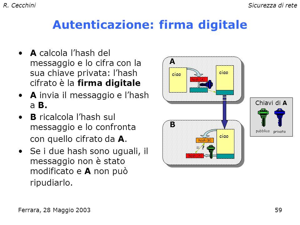 R. CecchiniSicurezza di rete Ferrara, 28 Maggio 200358 Integrità: one-way hash Funzioni che hanno in ingresso un messaggio di lunghezza variabile e pr