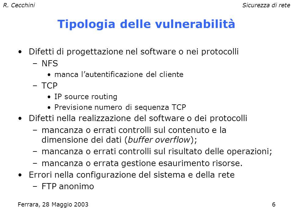 R. CecchiniSicurezza di rete Ferrara, 28 Maggio 20035 Sicurezza: principi e strategie 4/4 Sicurezza via mancanza di informazioni (Security Through Obs