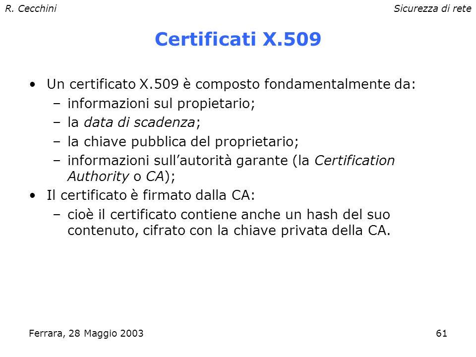 R. CecchiniSicurezza di rete Ferrara, 28 Maggio 200360 Autenticazione: certificati La firma digitale rende sicuro un messaggio se: –la chiave privata