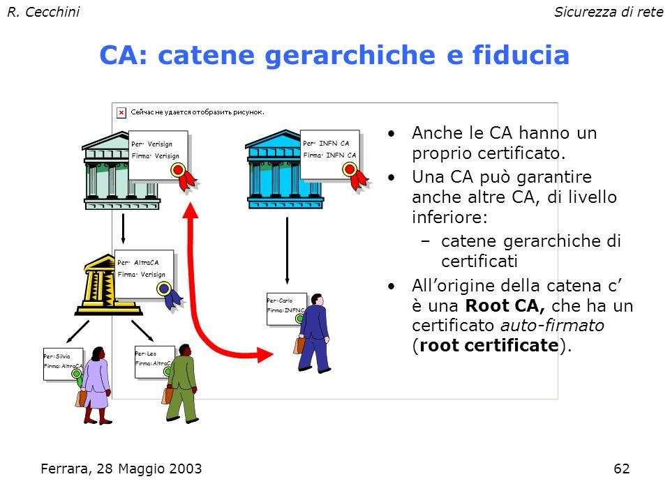 R. CecchiniSicurezza di rete Ferrara, 28 Maggio 200361 Certificati X.509 Un certificato X.509 è composto fondamentalmente da: –informazioni sul propie