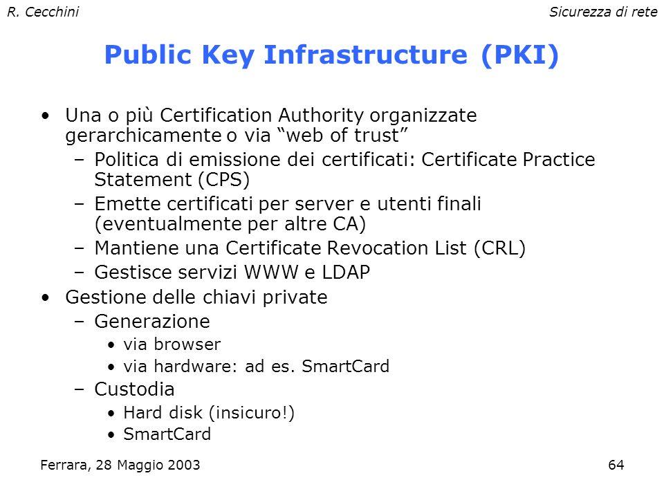 R. CecchiniSicurezza di rete Ferrara, 28 Maggio 200363 Root CA I browser contengono preinstallati alcuni root certificates, visibili sotto Signers nel