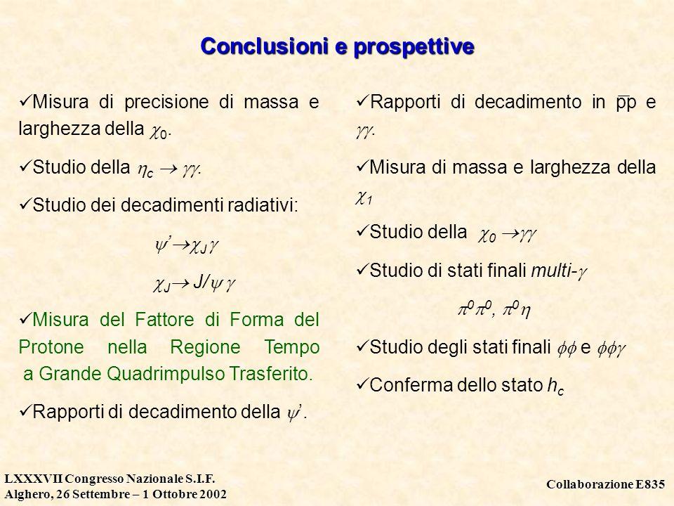 Collaborazione E835 LXXXVII Congresso Nazionale S.I.F. Alghero, 26 Settembre – 1 Ottobre 2002 Conclusioni e prospettive Misura di precisione di massa