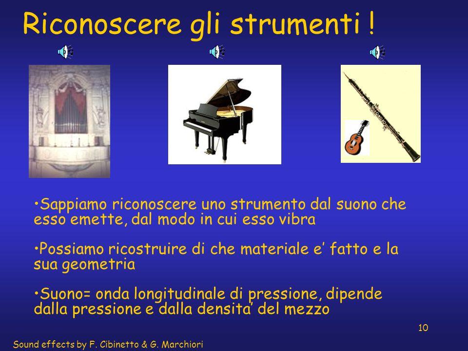 10 Riconoscere gli strumenti ! Sappiamo riconoscere uno strumento dal suono che esso emette, dal modo in cui esso vibra Possiamo ricostruire di che ma