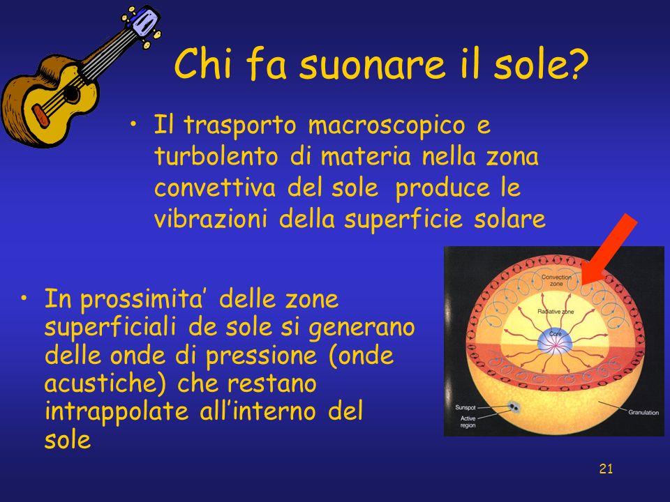 21 Chi fa suonare il sole? Il trasporto macroscopico e turbolento di materia nella zona convettiva del sole produce le vibrazioni della superficie sol