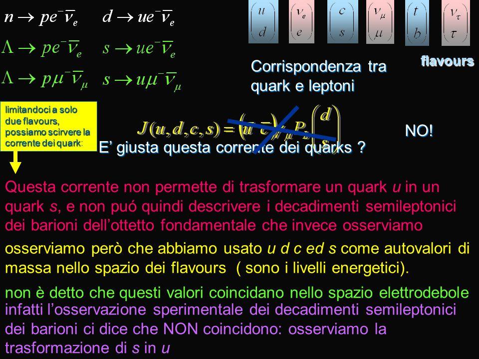 flavours Corrispondenza tra quark e leptoni E giusta questa corrente dei quarks ? NO! Questa corrente non permette di trasformare un quark u in un qua