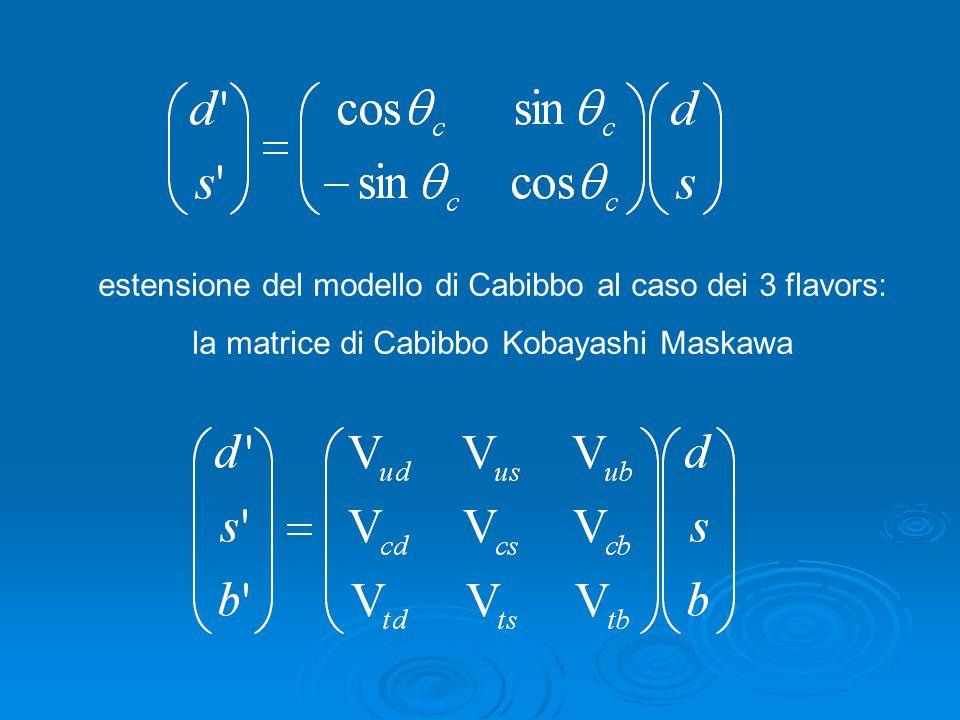 estensione del modello di Cabibbo al caso dei 3 flavors: la matrice di Cabibbo Kobayashi Maskawa