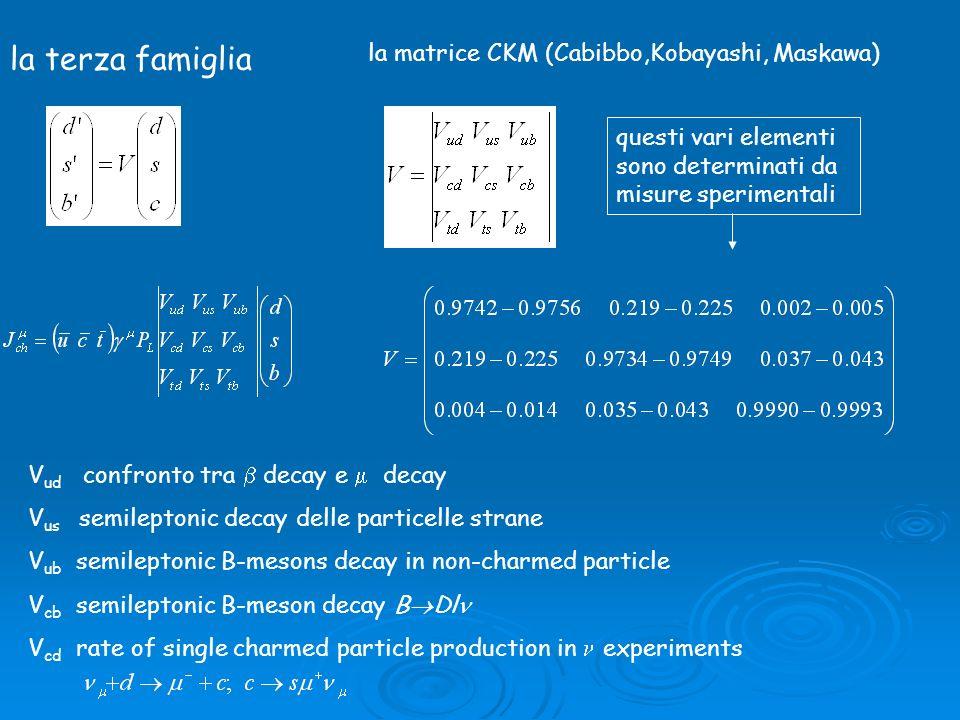 la terza famiglia la matrice CKM (Cabibbo,Kobayashi, Maskawa) questi vari elementi sono determinati da misure sperimentali V ud confronto tra decay e decay V us semileptonic decay delle particelle strane V ub semileptonic B-mesons decay in non-charmed particle V cb semileptonic B-meson decay B Dl V cd rate of single charmed particle production in experiments