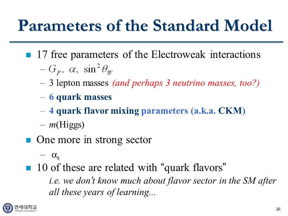 26 Parameters of the Standard Model n 17 free parameters of the Electroweak interactions – –3 lepton masses (and perhaps 3 neutrino masses, too ) –6 quark masses –4 quark flavor mixing parameters (a.k.a.