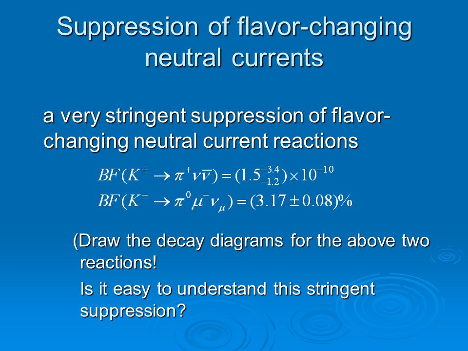 Suppression of flavor-changing neutral currents a very stringent suppression of flavor- changing neutral current reactions a very stringent suppression of flavor- changing neutral current reactions (Draw the decay diagrams for the above two reactions.