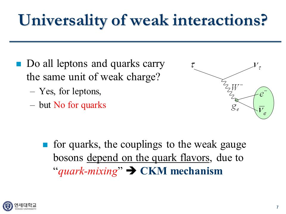 7 Universality of weak interactions? n Do all leptons and quarks carry the same unit of weak charge? –Yes, for leptons, –but No for quarks n for quark
