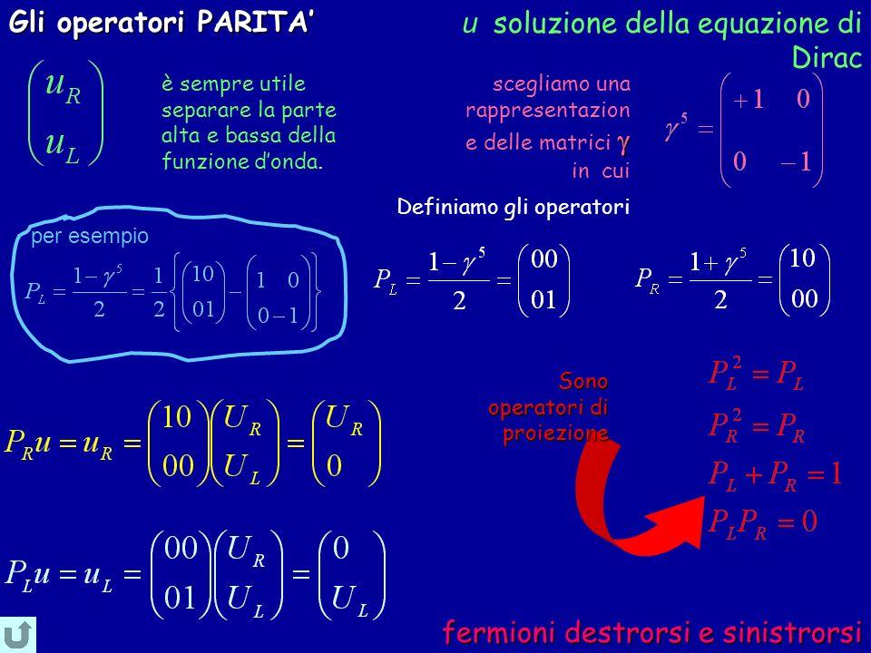 fermioni destrorsi e sinistrorsi fermioni destrorsi e sinistrorsi Definiamo gli operatori è sempre utile separare la parte alta e bassa della funzione