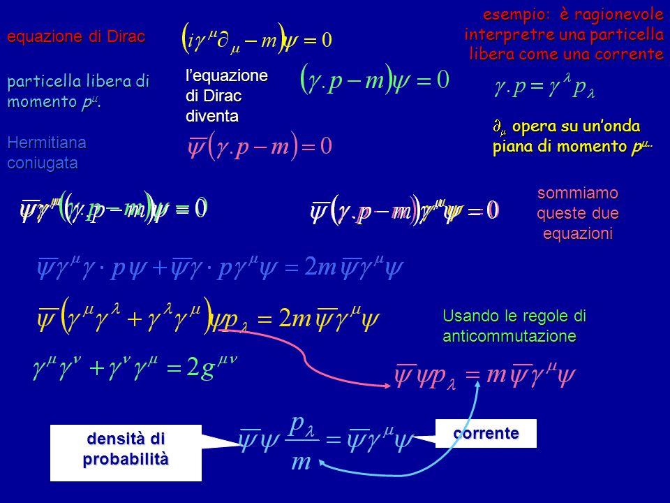 esempio: è ragionevole interpretre una particella libera come una corrente equazione di Dirac particella libera di momento p. densità di probabilità c