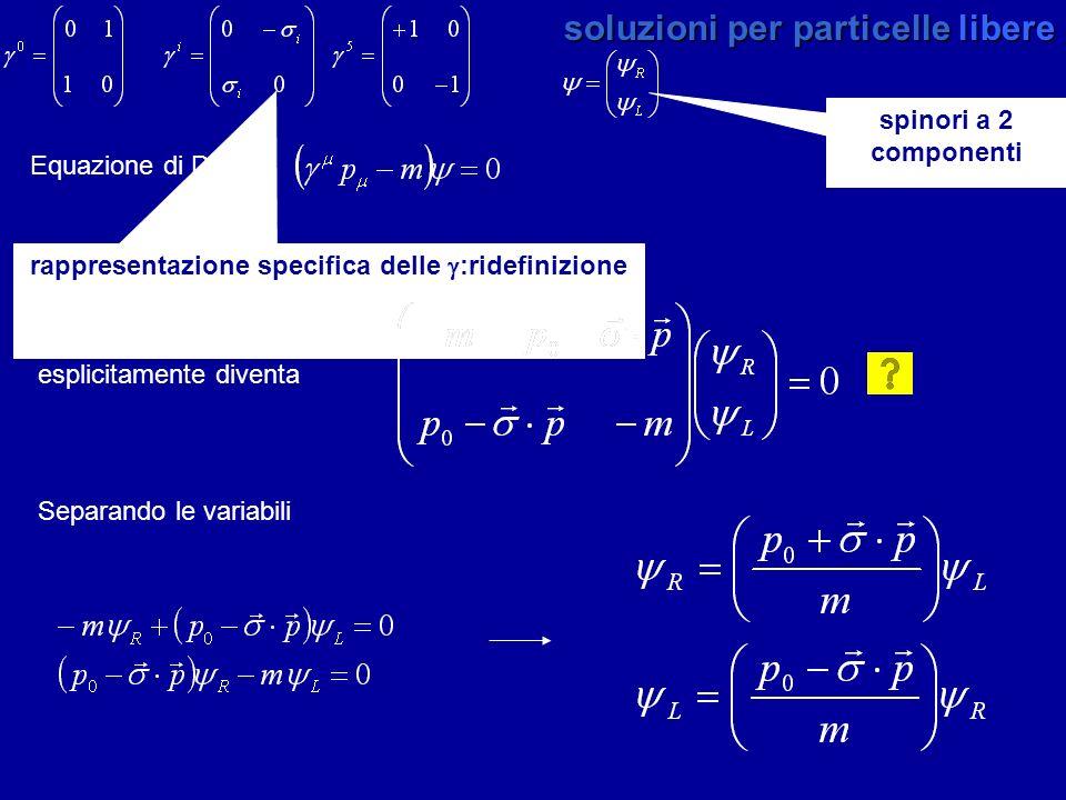 spinori a 2 componenti rappresentazione specifica delle :ridefinizione soluzioni per particelle libere Equazione di Dirac Separando le variabili che s