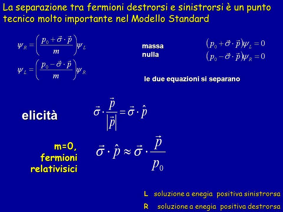 massa nulla le due equazioni si separano elicità m=0, fermioni relativisici L soluzione a enegia positiva sinistrorsa R soluzione a enegia positiva de