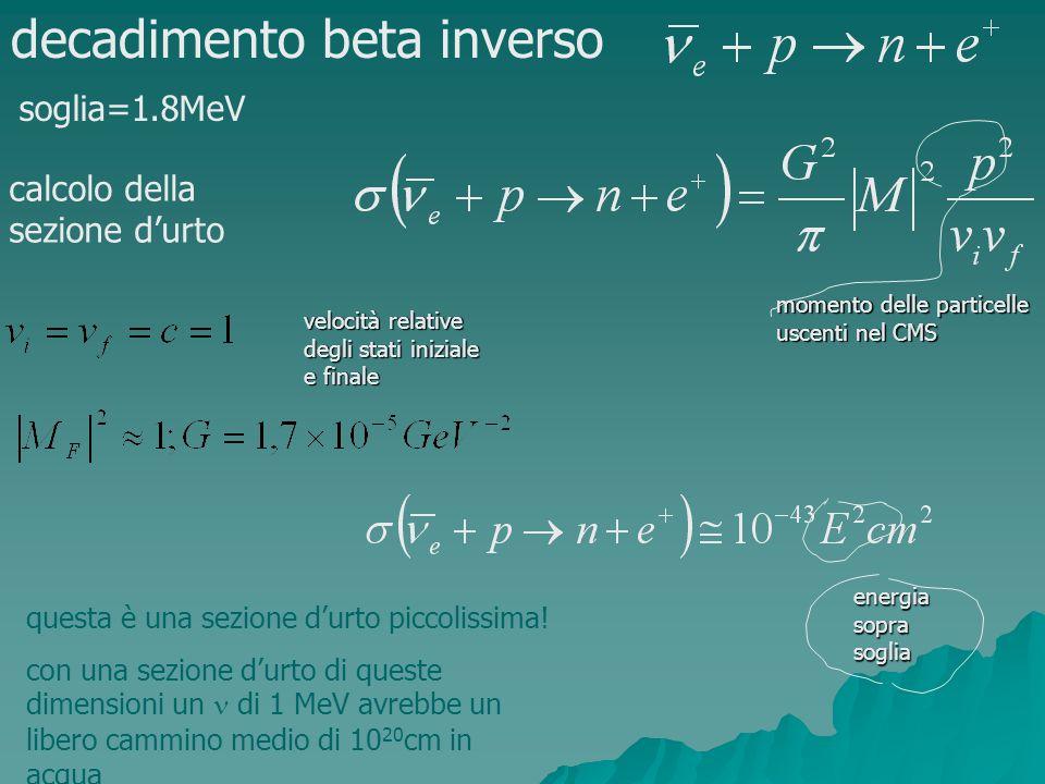 decadimento beta inverso soglia=1.8MeV calcolo della sezione durto velocità relative degli stati iniziale e finale momento delle particelle uscenti ne