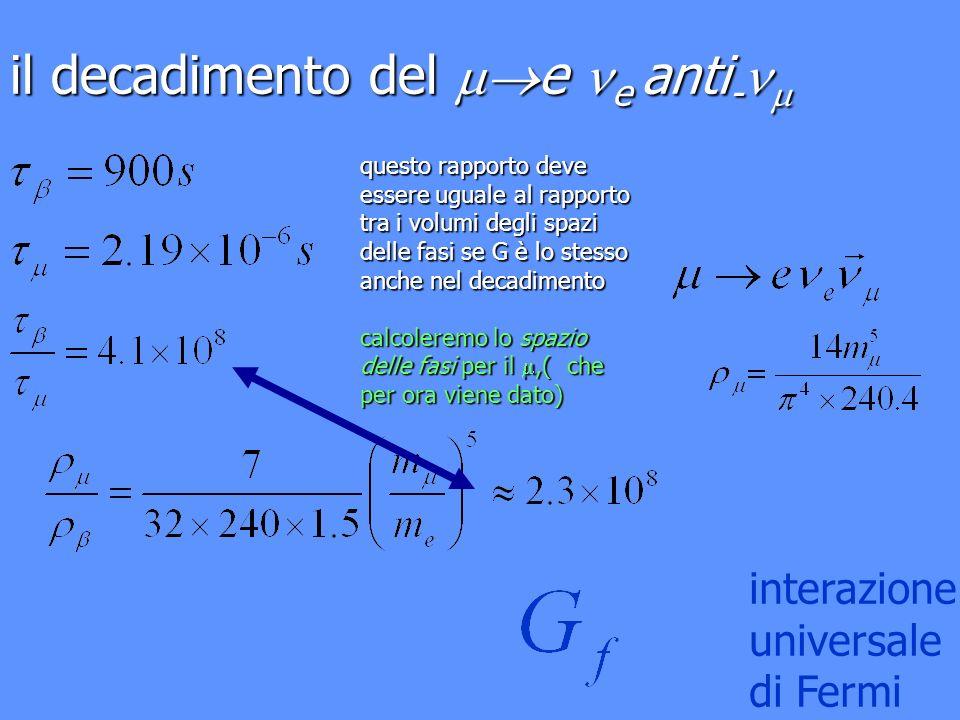 il decadimento del e e anti - il decadimento del e e anti - questo rapporto deve essere uguale al rapporto tra i volumi degli spazi delle fasi se G è