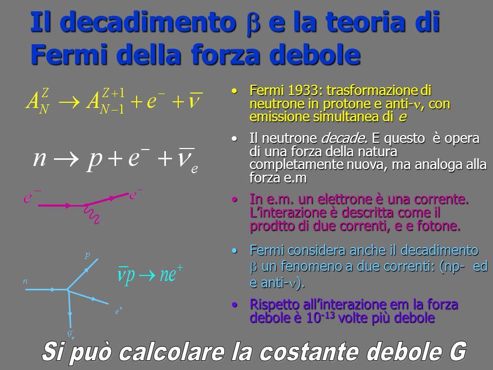 il decadimento del e e anti - il decadimento del e e anti - questo rapporto deve essere uguale al rapporto tra i volumi degli spazi delle fasi se G è lo stesso anche nel decadimento calcoleremo lo spazio delle fasi per il,( che per ora viene dato) interazione universale di Fermi