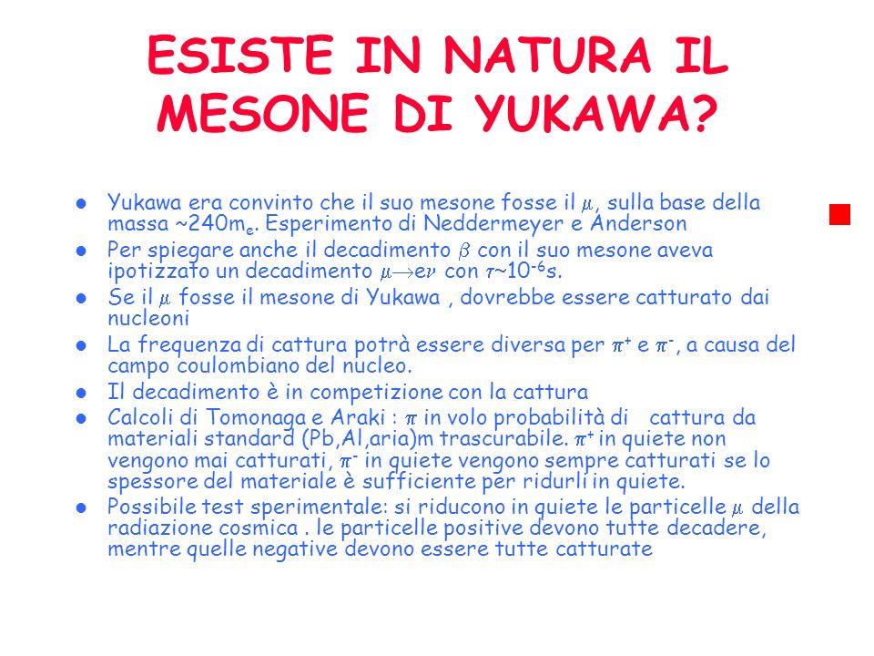 ESISTE IN NATURA IL MESONE DI YUKAWA? Yukawa era convinto che il suo mesone fosse il, sulla base della massa ~240m e. Esperimento di Neddermeyer e And