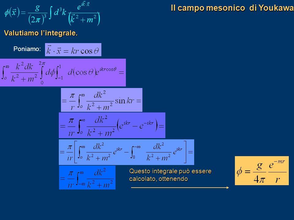 Valutiamo lintegrale. Poniamo: Questo integrale può essere calcolato, ottenendo Il campo mesonico di Youkawa