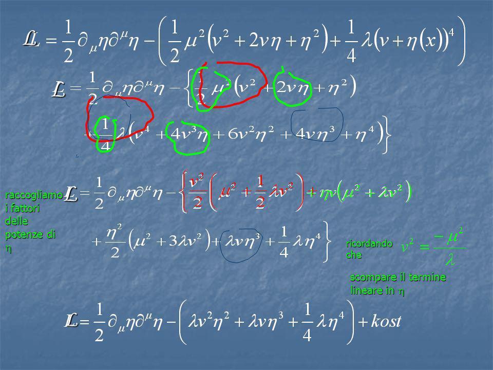 L L L L L ricordando che scompare il termine lineare in scompare il termine lineare in raccogliamo i fattori delle potenze di raccogliamo i fattori de