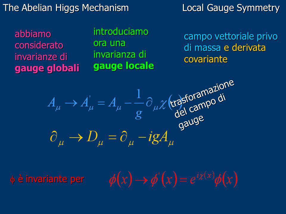 The Abelian Higgs Mechanism Local Gauge Symmetry abbiamo considerato invarianze di gauge globali introduciamo ora una invarianza di gauge locale campo