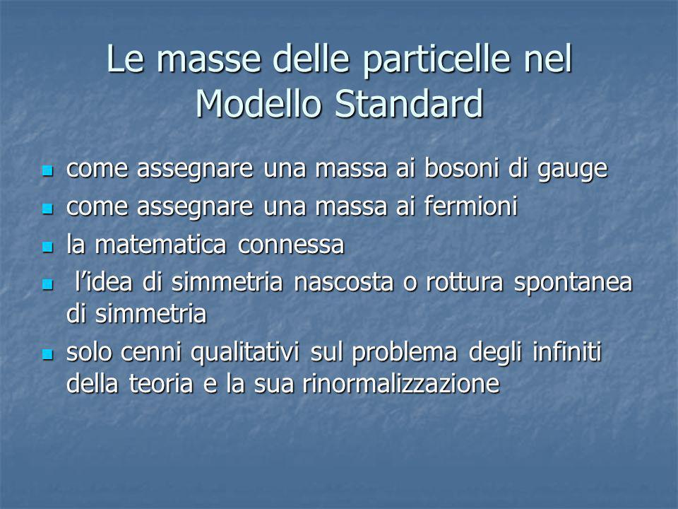 Le masse delle particelle nel Modello Standard come assegnare una massa ai bosoni di gauge come assegnare una massa ai bosoni di gauge come assegnare